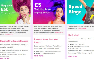 You can receive a no-deposit bonus of 20 free bingo cards and 20 free spins at Lucky Pants Bingo
